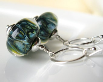 Dragon Eye Boro Lampwork earrings in sterling silver