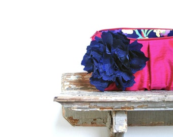 Navy and Fuchsia Pink Bridesmaids Clutches, Neon, Summer Wedding