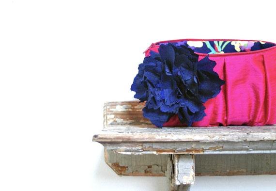 Navy and Fuchsia Pink Bridesmaids Clutches, Neon, Summer Wedding