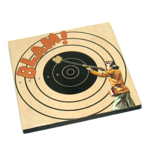Original Mixed Media Collage Art Gun Girl Wall Decor Rifle Shooting Target Wall Art
