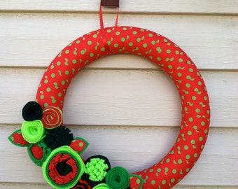 Christmas Wreath - Felt Flower Wreath - Holiday Wreath - Christmas Felt Wreath - Ribbon Wreath - Polka Dot Wreath - Holiday Flower Wreath