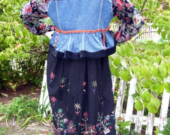Jean Jacket 80s Floral Black Velvet Embroidery Fishtail OOAK Bustle Upcycled Long Duster Hippie Boho Jacket Bohemian Blue Adult size 8 -12