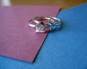 Tiny House and Key Stacking Rings Sterling Silver - 2 Rings