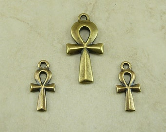 TierraCast Egyptian Ankh Charm and Pendant Mix Pack - Brass Ox Plated Lead Free Pewter - I ship Internationally 2295