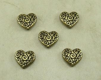 5 TierraCast Ornate Heart Scroll Beads > Spiral Swirl Love Valentine Bride - Silver Plated Lead Free Pewter - I ship Internationally 5672