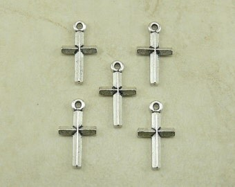5 TierraCast Small Classic Cross Charms - Silver Plated Lead Free Pewter - I ship Internationally  2190