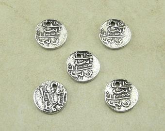 5 TierraCast Maldive Larin Coin Charms > Rufiyaa Laari - Silver Plated Lead-Free Pewter - I ship internationally 2042