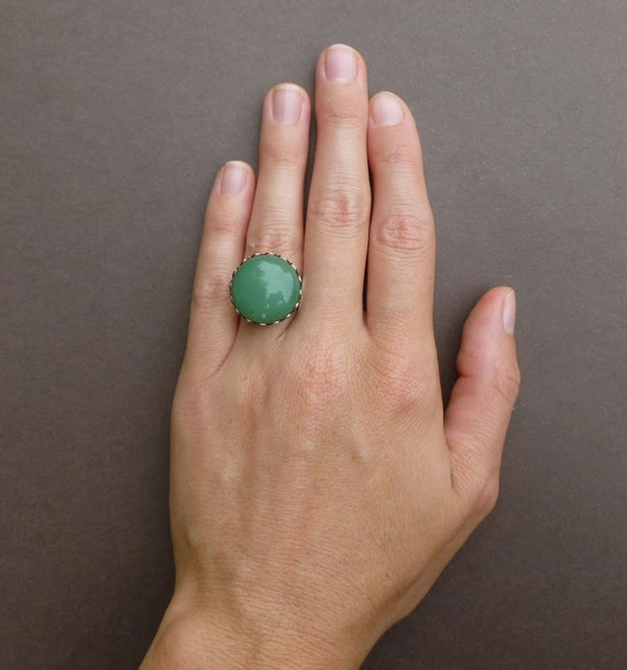green aventurine cocktail ring in silver adjustable statement ring