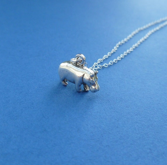 sterling silver hippopotamus necklace gift for her hippo