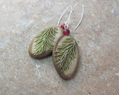 Reserved Order. Evergreen Dangle Earrings with Red Holly Berry Bead