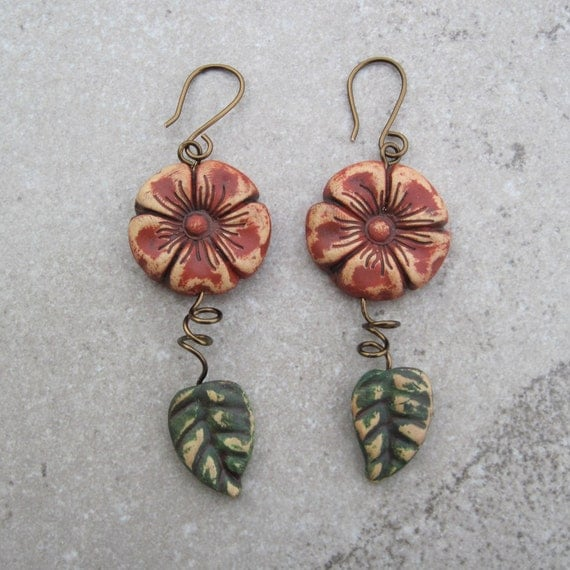 Cayenne Red Wild Flower Earrings