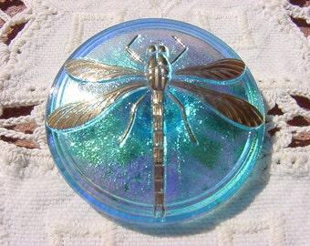 Metallic Capri Blue XLG Golden Dragonfly Czech Glass Button