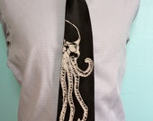 BLACK Cthulu Necktie - SKULLOPUS Tie - Men's skull and octopus Necktie