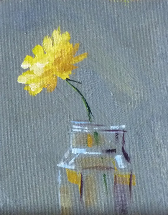 Still Life Oil Painting, Yellow Flower, Floral, Dandelion, Small Original, Minimalist, 4x5, Miniature Canvas Wall Decor