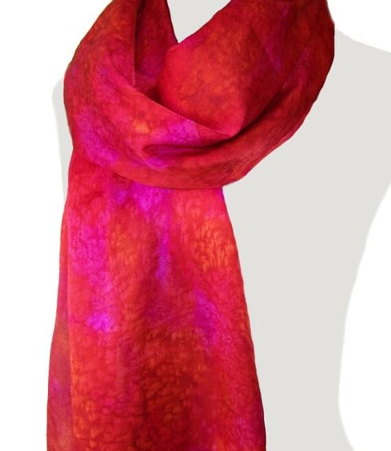 Silk Scarf, Christmas Red and Fuchsia, Scarlett