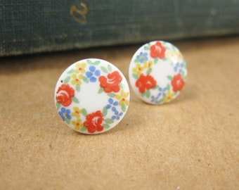 Vintage Glass Cabochon Post Earrings -- Red Yellow and Blue Flowers Surgical Steel Posts -- Gift for Her Under 10