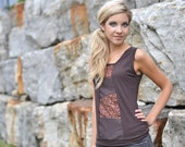Spring clothing women's brown bamboo tank top with vintage cotton detail