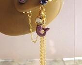 Purple Mermaid With Seashell Ear Cuff And Rose Stud Earring Ear Vine Flower Gold Fantasy Sea Ocean Feminine Elegant Glamorous