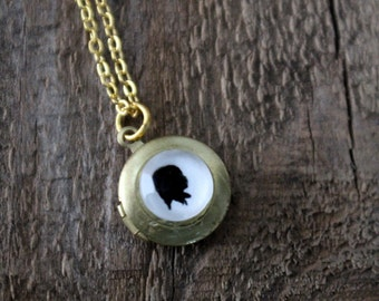 Custom Silhouette Necklace - Tiny Mini Cameo Locket - Gold or Silver - Customized From Your Photo - Great for Wedding, Bridesmaid, Mom