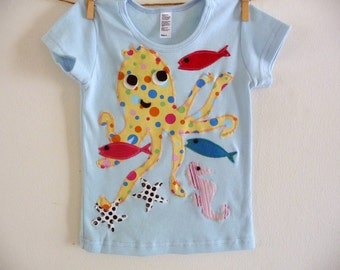 POLKA DOT OCTOPUS  - Under the Sea -  Children's Cotton Tee- Sizes infant,  2, 4, 6, 8, 10 or 12 years