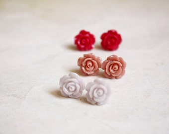 Dainty Rose Studs - floral shabby chic jewelry (one pair)