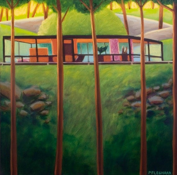 SALE Philip Johnson Glass House Mid Century Modern Architecture  Oil Painting