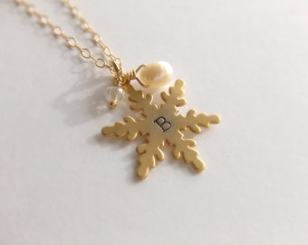 Snowflake Pendant Jewelry Necklace - Pearl - Personalized Jewelry - Gold Filled Jewelry