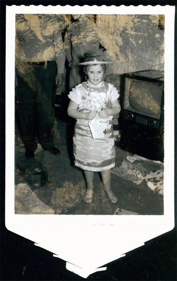 Vintage photo Polaroid Girl in Costume w Hat by Television TV 1950s unusual