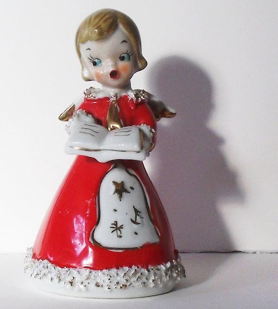 Singing Carolers Candleholders Figurines Vintage By: Vintage Ceramic Christmas Caroler Bell Christmas By ElaineMary