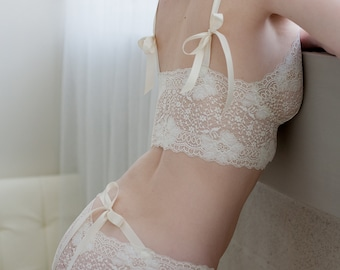 Ready To Ship - Small Side of Small - Bridal Panties In Ivory French Lace With Satin Ribbon - 'Sugarberry' Style