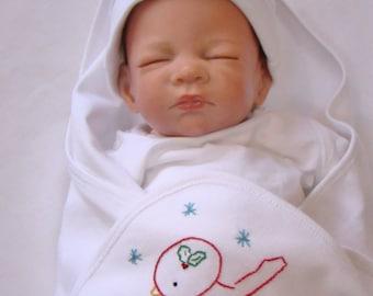 Little Winter Bird - Hand Embroidered Baby Blanket