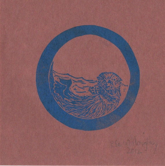 Otter O Monogram Linocut - Alphabet with Animals Typographic Lino Block Print - O is for Otter