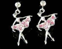 Pink Swarovski Crystal BALLERINA The Nutcracker Ballet Dancer Dance Girls Earrings Christmas Gift New for The Nutcracker Swan Lake Lover