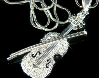 Swarovski Crystal MUSIC musical Fiddle VIOLIN Bow Charm Chain Necklace Jewelry Jewellery Christmas Birthday Best friends Musican Gift New
