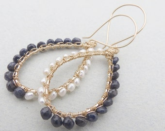 Sapphires and Pearls Earrings