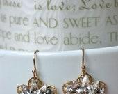 Swarovski Wedding Earrings, Crystal Flower Earrings, Unique Bridal Earrings