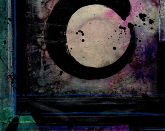 Being Within Series.. Enso . No.5 ... Original Zen Circle mixed media art painting by Kathy Morton Stanion EBSQ