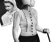 Vintage 1940 Cable Cardigan Pattern from The Edge of Love movie - Sienna Miller - PFD e-Book