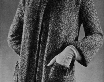 Tweed Swagger Coat, Vintage Knitting Pattern - 1934 - PDF eBook