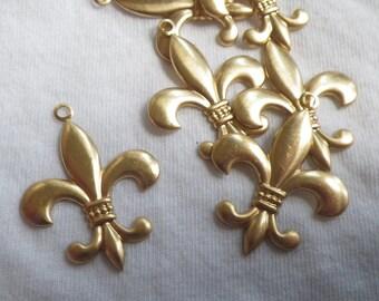 Fleur de Lis Brass Charms 35mm 6 Pcs