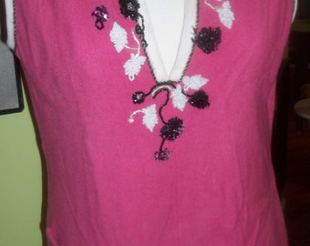 ADORABLE Bubblegum Pink Embellished Vintage Tunic Top by Justin McCarty