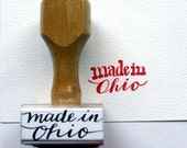 Made in Ohio Rubber Stamp, Contemporary Hand Lettered Calligraphy, Ohio State Stamp, for card making, shop branding