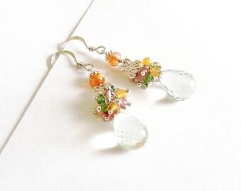 Sterling Silver, Green Amethyst, Multi Gemstones, Earrings, Handmade Jewelry