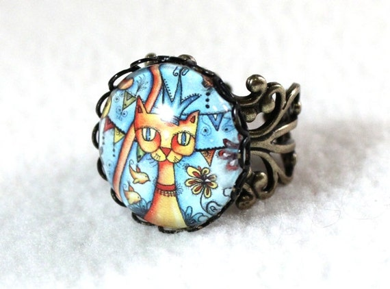 Cat Ring, Antique Bronze Mexican Style Art Ring, Filigree Cocktail Ring Jewelry, Original Cat Art Print, Blue