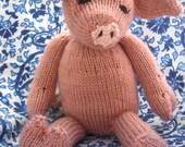 Hand-Knit Pig Stuffed Toy- Softie- Doll