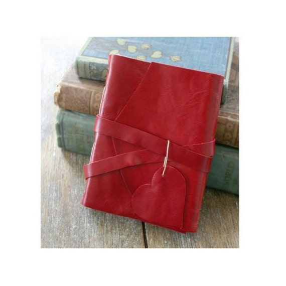 """Leather Journal . LOVE - """"i carry your heart with me"""" -ee cummings . Handmade Handbound . red (280 pgs.)"""