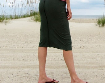 Organic Warrior Pencil Below Knee Skirt (NC Grown Organic Cotton) - organic skirt :
