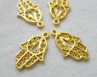4 Filigreed Hand of Fatima Hamsa Charms, 22K Gold Plated