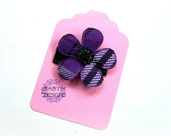 CHRISTMAS Purple n Black Baby Bow/ Baby Snap Clips / Itty Bitty Clips / Infant Clips / Toddler Girls Bows / No Slip Hair Clip / Flower Clip