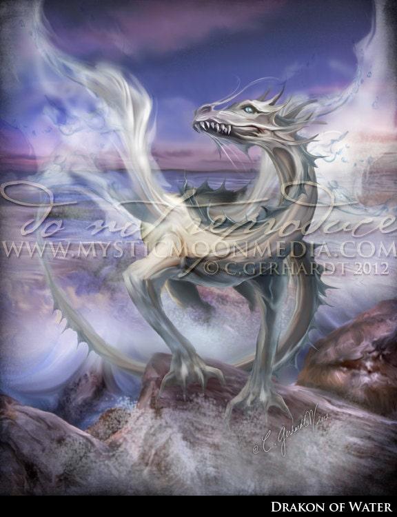 Elemental Dragons Collection Water Dragon Print